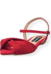 Sandália Rasteira Love Shoes Bico Folha Nó Torcido Vermelho - Kanui