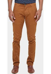 Calça Skinny Preston Color Bolso Faca Masculina - Masculino-Caramelo