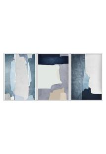Quadro 75X150Cm Abstrato Hundura Moldura Branca Com Vidro Decorativo