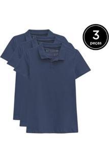 Kit 3 Camisas Polo Basicamente Feminino - Feminino-Azul Escuro