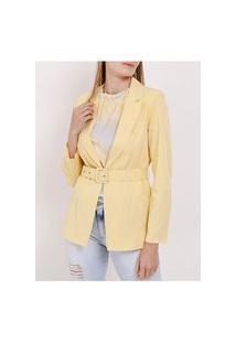 Blazer Com Cinto Feminino Amarelo