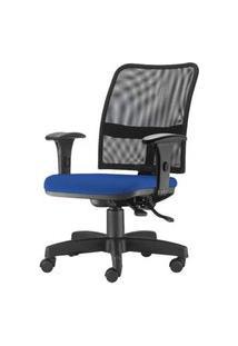 Cadeira Soul Assento Crepe Azul Braco Reto Base Metalica Com Capa - 54222 Azul
