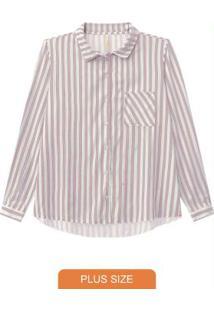 Camisa Tecido Com Bolso Listrada Rosa