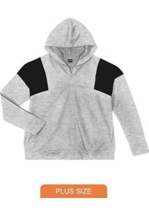 Jaqueta Plus Size Com Capuz Cinza