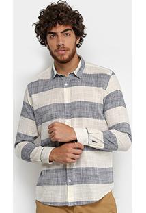 Camisa Reserva Fio Tinto Listrada Masculina - Masculino-Off White