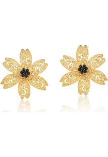 Brinco Le Diamond Flor Vazada Dourada - Kanui