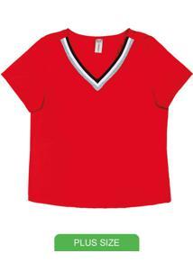 Blusa Em Malha Com Decote V Vermelho