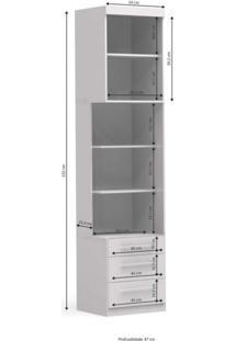 Criado Mudo Modulado 1 Porta 3 Gavetas A527 Smart Kappesberg Branco