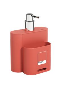 Dispenser Flat 9 X 13 X 16,5 Cm 500 Ml Coral Pantone Coza