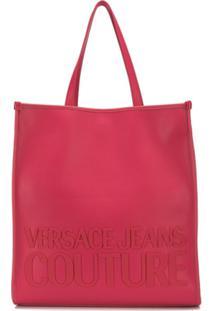 Versace Jeans Couture Bolsa Tote Com Logo E Fecho Magnético - Rosa
