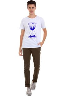 Camiseta Masculina Joss Time Kills Azul Branco