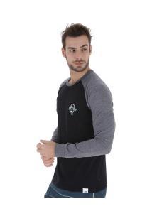 Camiseta Manga Longa Hd Raglan Minimal - Masculina - Preto
