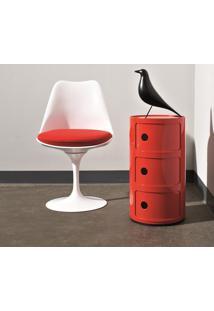 Cadeira Saarinen Abs (Sem Braços) Branca Com Almofada Vermelha