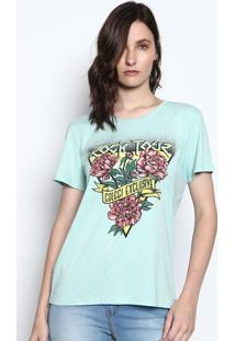 Camiseta Alongada Com Inscrições - Verde Água & Amarela