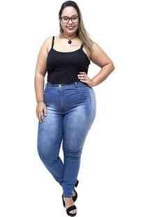Calça Jeans Latitude Plus Size Skinny Rosibene Latitude Jeans Feminina - Feminino-Azul