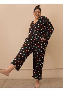 Pijama Clássico Poá Plus Size Colorido-G Preto