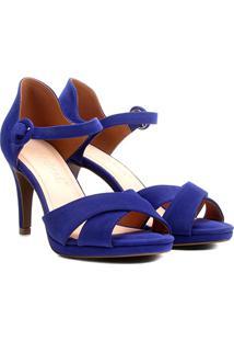 Sandália Bebecê Salto Fino Tiras Cruzadas Feminina - Feminino-Azul