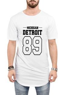 Camiseta Criativa Urbana Long Line Oversized Michigan Detroit 89 - Masculino-Branco