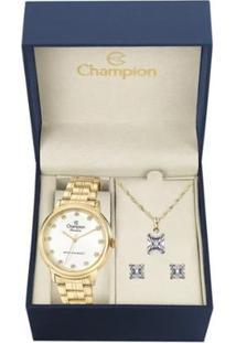 Kit Relógio Champion Elegance Feminino Cn29874W Com Colar E Brincos - Feminino-Dourado