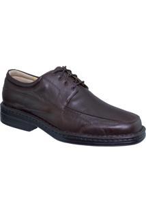 Sapato Couro Riber Shoes Cadarço Masculino - Masculino-Marrom