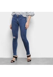 Calça Jeans Skinny Lança Perfume Desfiada Cintura Média Feminina - Feminino-Jeans