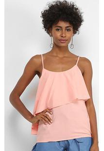 Blusa Lily Fashion Open Shouder Babado Feminina - Feminino-Rosa