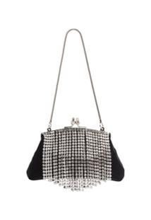 Black & Brown Bb Flora Crystal Fringe Bag - Preto