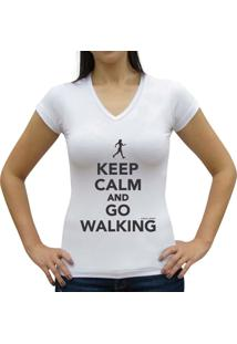 Camiseta Baby Look Casual Sport Keep Calm And Go Walking Branca