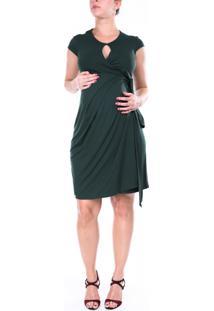 Vestido A Gestante Envelope Verde Musgo -Verde