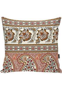 Capa De Almofada Indian- Bege & Vinho- 42X42Cm- Stm Home