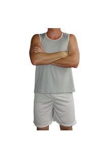 Pijama Masculino Regata Shorts Curto Estampado Verão - Cinza
