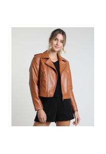 Jaqueta Perfecto Feminina Com Bolsos Caramelo