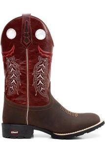 Bota Texana Fossil Vinho Bico Redondo 00091 - Masculino-Vinho
