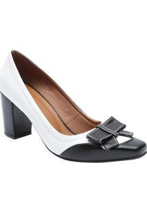 1757cea00d ... Sapato Tradicional Em Couro Com Laço- Branco   Pretole Rossi