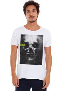 Camiseta Estonada Corte À Fio Estampada Joss Skull Dark Branco