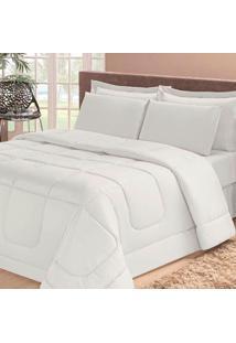 Edredom Dupla Face Soft Casa Dona Casal + 4 Porta Travesseiros E Lençol Branco
