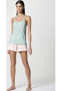 Pijama Feminino Curto Em Malha Com Shorts De Babado