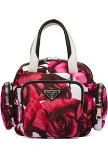 Prada Bolsa Tote Tessuto Pocket Floral - Rosa