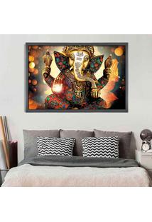 Quadro Love Decor Com Moldura Lord Ganesha Grafitti Metalizado Grande
