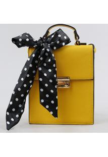Bolsa Transversal Feminina Com Lenço Estampado De Poá Amarela - Único