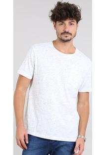 Camiseta Masculina Botonê Com Bolso Manga Curta Gola Careca Off White