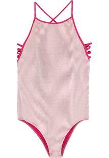 Body Pink Canelado Listrado