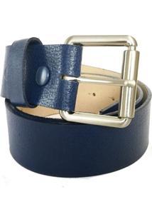 Cinto Cintos Exclusivos Liso Azul -Marinho
