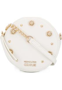 Versace Jeans Couture Bolsa Transversal Redonda Com Tachas - Branco