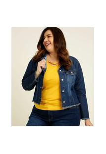 Jaqueta Plus Size Feminina Jeans Destroyed Bolsos Razon