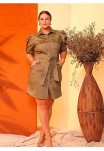 Vestido Curto Almaria Plus Size Lemon Faixa Verde