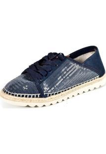 Tênis Scarpan Calçados Finos Em Tecido/Paetê Azul