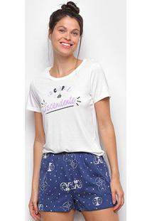 Pijama Hering Curto Estampado Feminino - Feminino-Branco+Azul