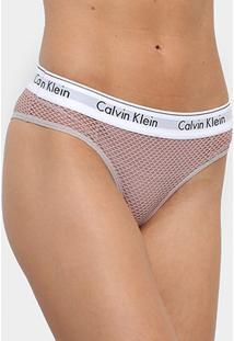 Calcinha Calvin Klein Tanga Forro Tule - Feminino-Rosa