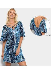 Vestido Yutz Evasê Estampado Feminino - Feminino-Azul